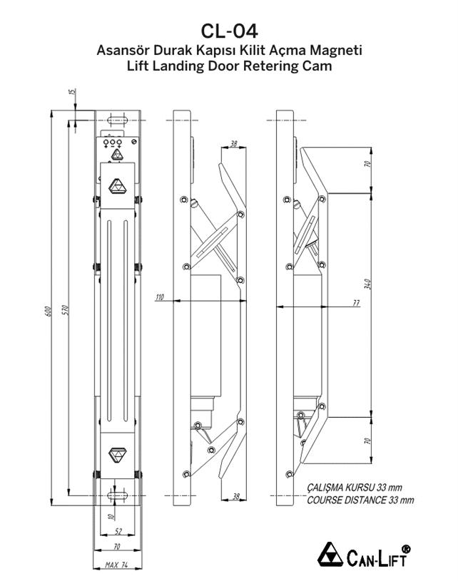 CL-04 Teknik Çizim  sc 1 st  Global Partner Elevator & CL-04 Lift Landing Door Lock Opening Magnet